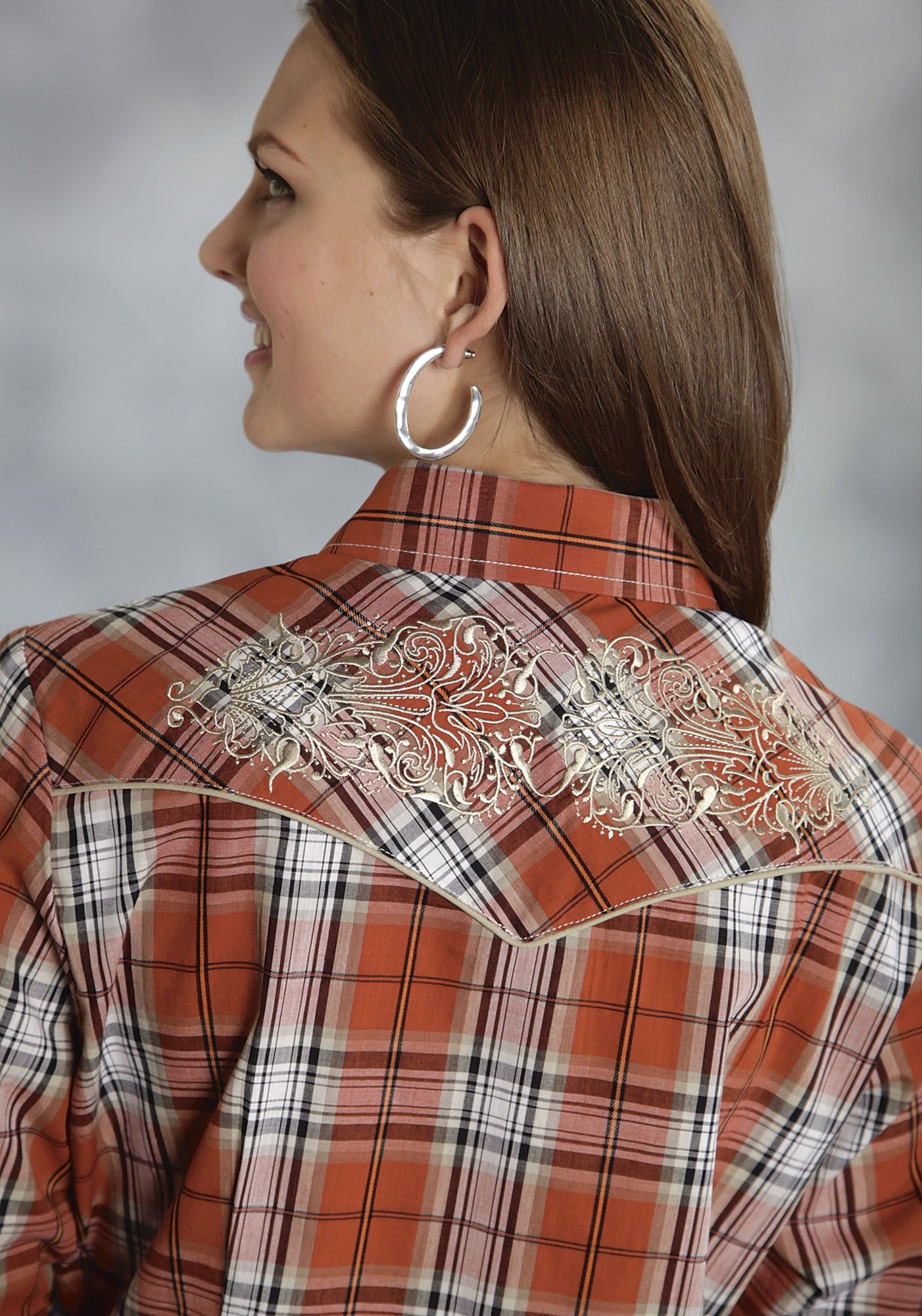 9a1e50593c Roper® Women s Orange Plaid Embroidered Smile Pockets Long Sleeve Snap  Western Shirt
