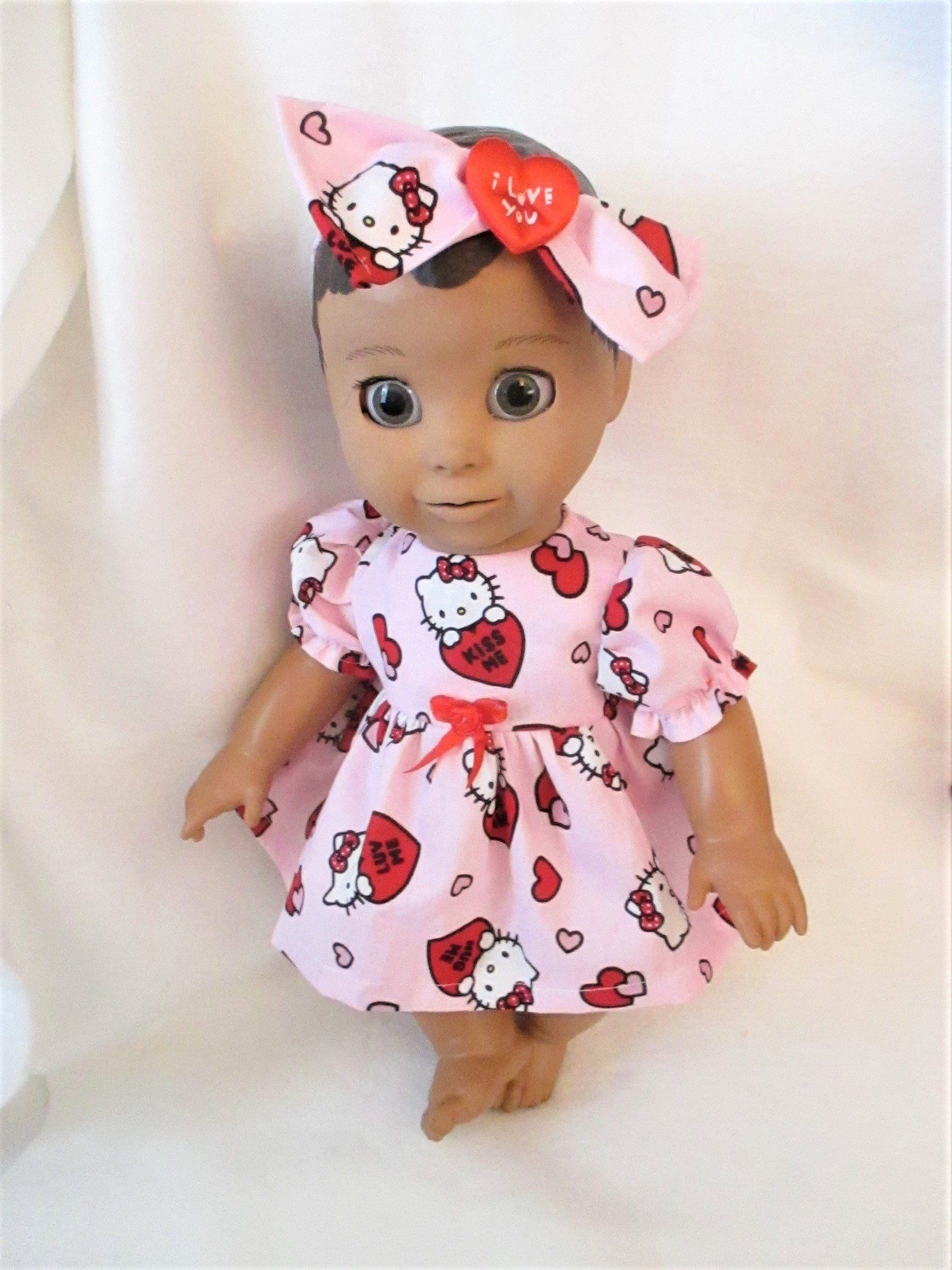 b0dfb90fd57c Luvabella Clothes Valentines Dress & Headband Pink Red hello Kitty Puff  Sleeves Full Skirt Hearts by Giftsbygammy on Etsy