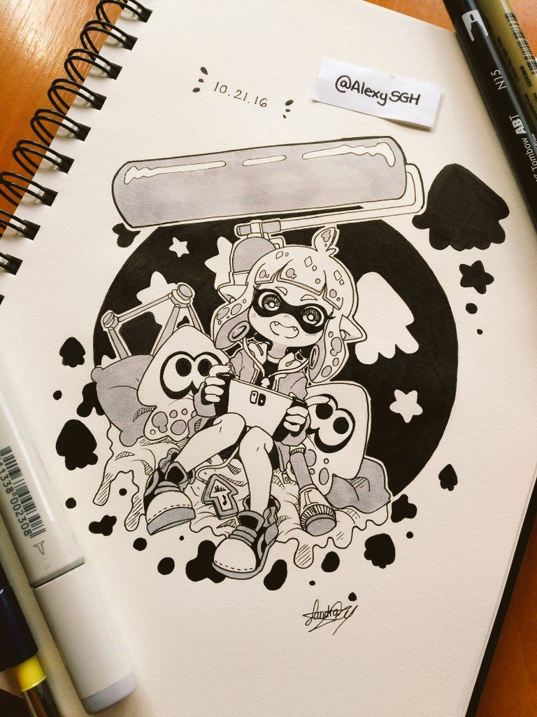 Inktober Day 21: So excited for the new Nintendo Switch and the new Splatoon! ~