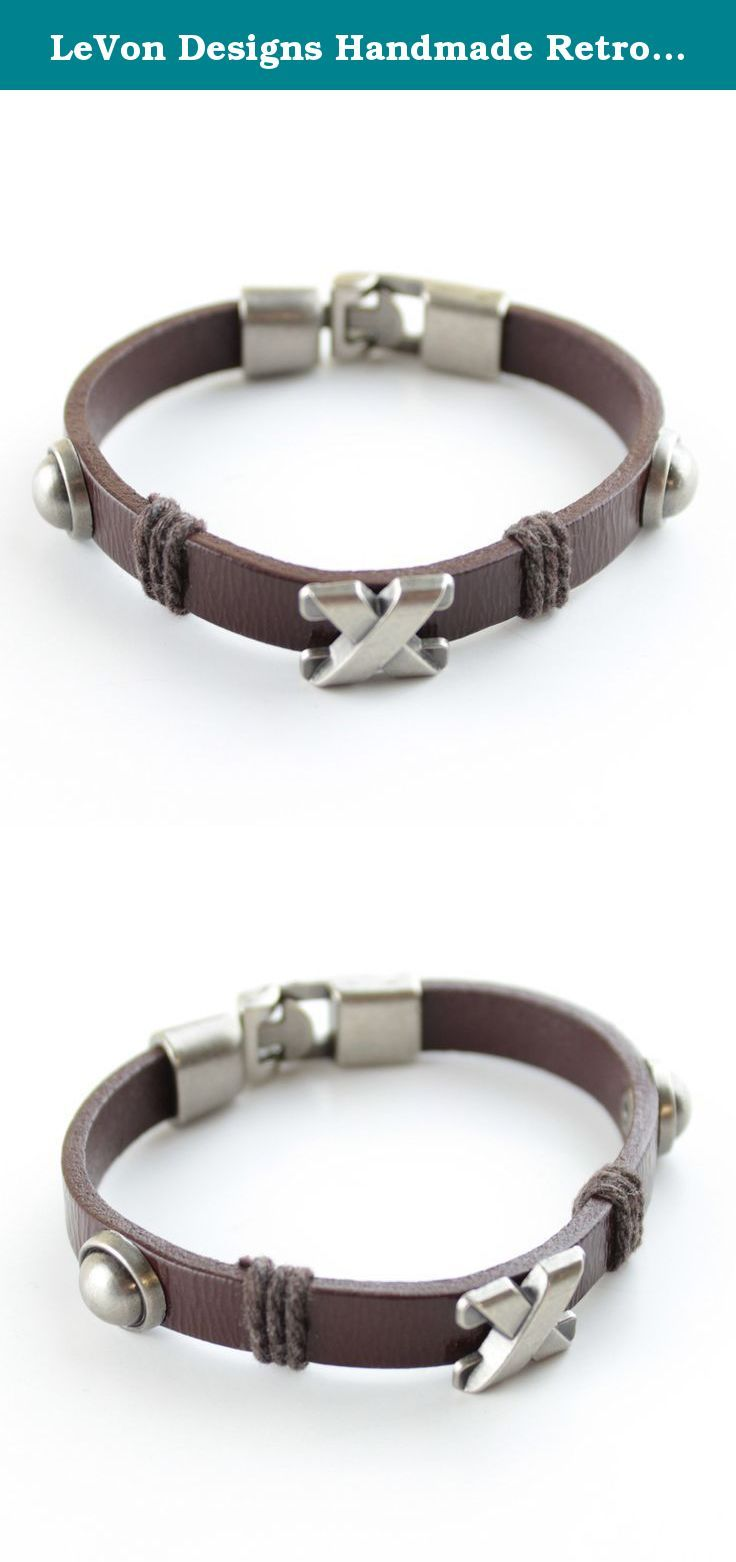 Levon designs handmade retro pu leather unisex vintage bracelet pu