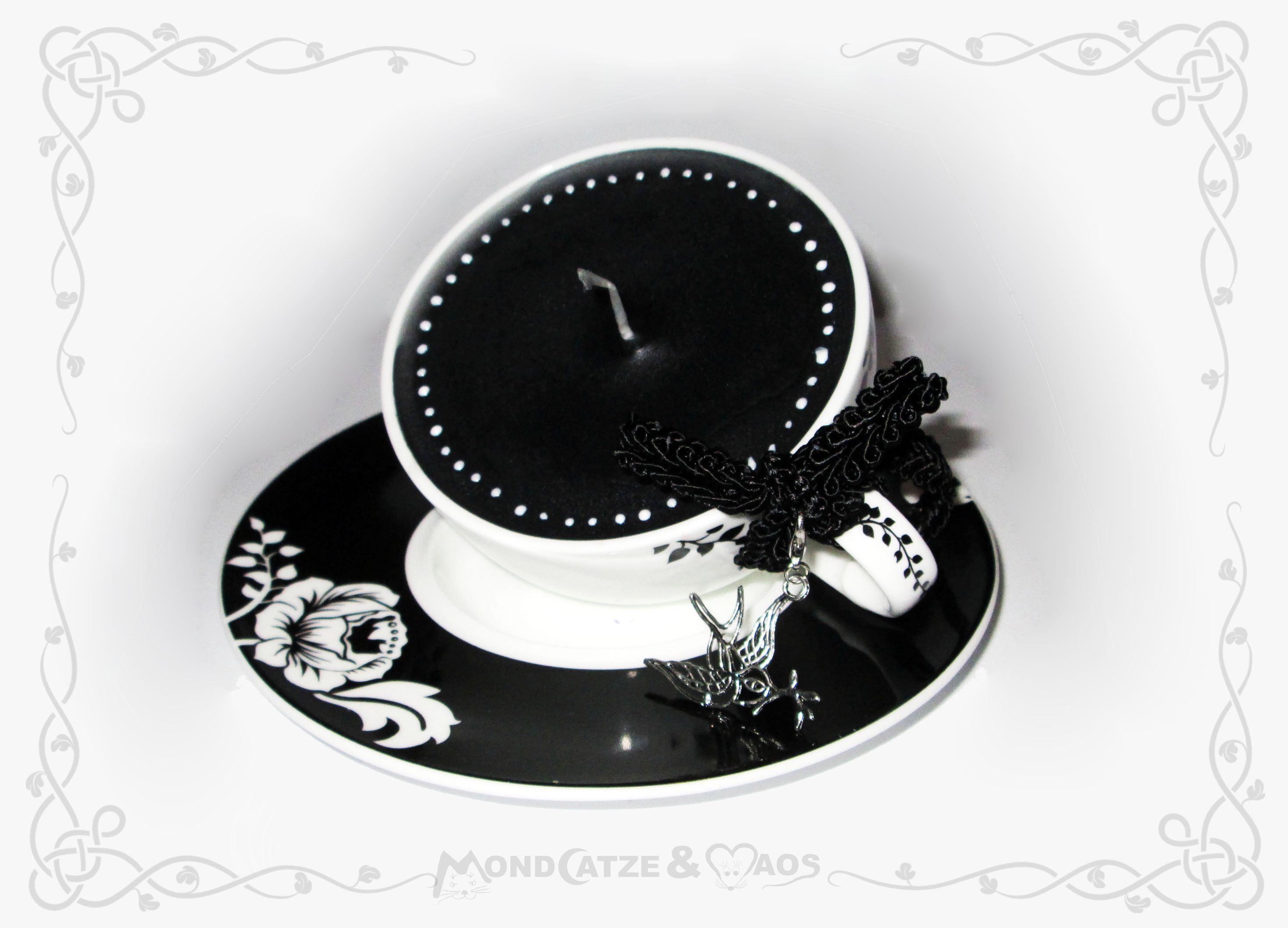 Tassenkerze schwarz / weiß ... cup candle black & white