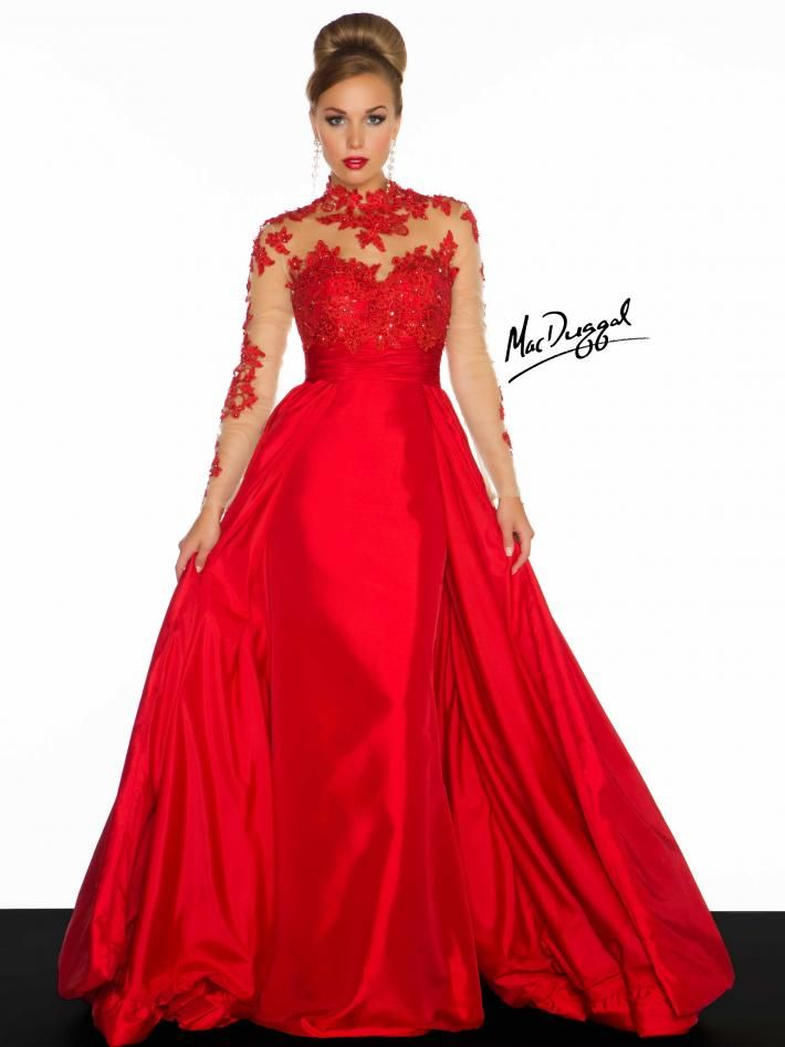 Illusion Long Sleeve and High Collar Evening Gown  33ff7cdede03