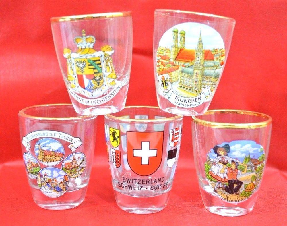 Set Of 5 Souvenir Collectable Europe Gold Rimmed Shot Glass Bar Shooter 37 Entertainment Bar Bar Accessories Entertaining