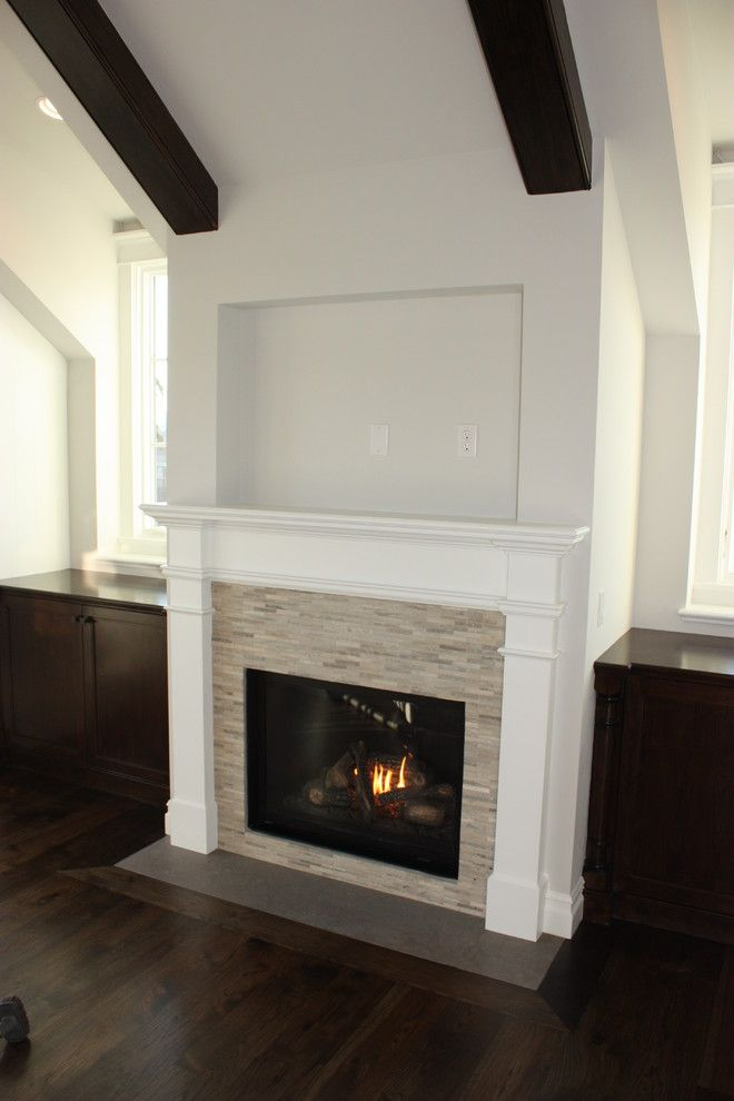 Like The Tile Color With The Dark Wood Floors Fireplace
