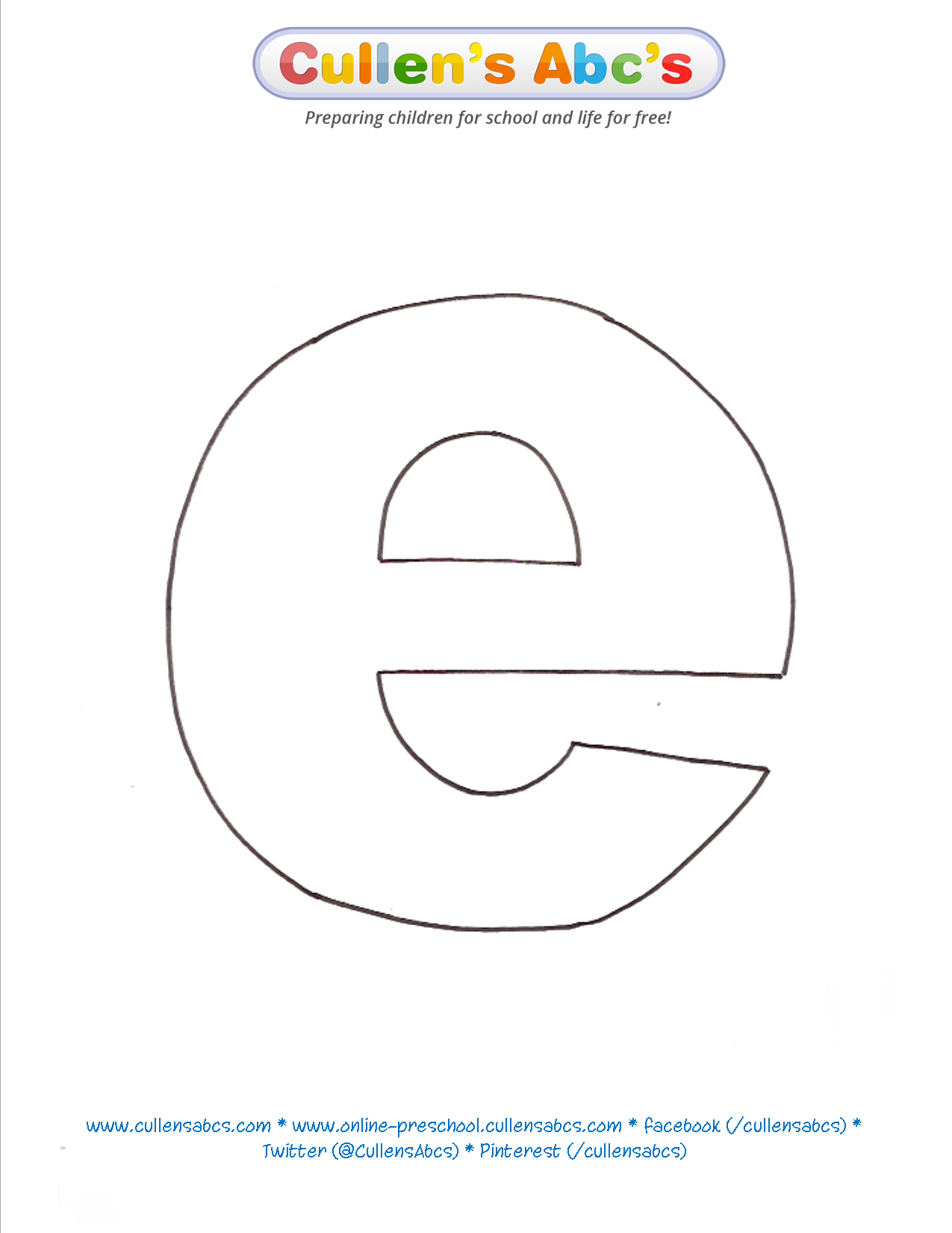 Lowercase Letter E Pattern