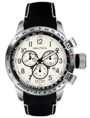 51bbd7ea8ba Relógio Nautica Men s A29505 WW Chronograph Black Leather Strap Watch   Relogio  Nautica