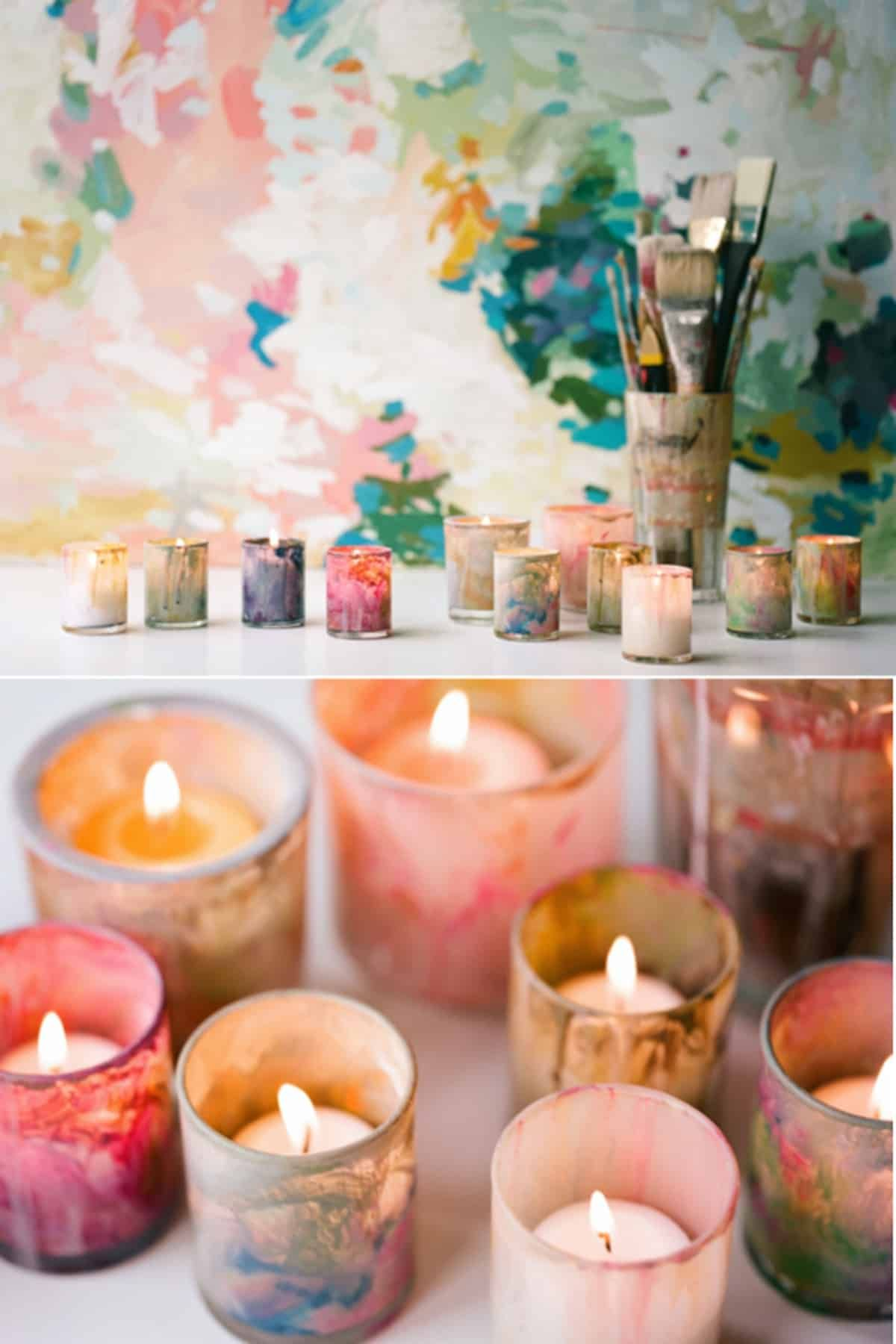 The Colorful Votive Candle Holder Candleholders Diycandleholders Candleholderdecor Diy Candle Holders Diy Candles Candle Holders