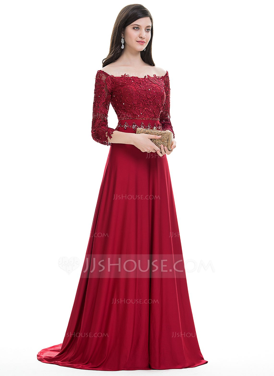 A LinePrincess Off the Shoulder Sweep Train Beading Sequins