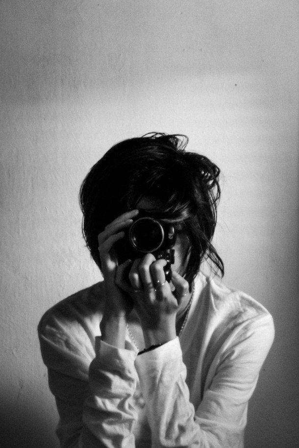 black and white camera girl