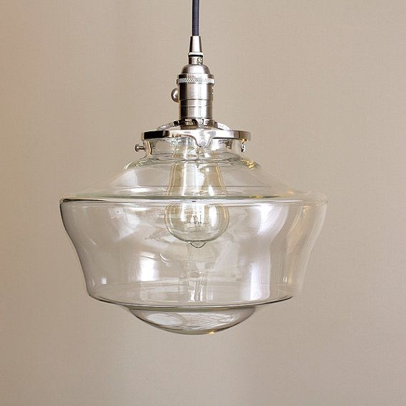 Schoolhouse Lighting With 12 Clear Schoolhouse Glass Etsy Glass Shade Pendant Light Glass Light Fixture Pendant Light Fixtures
