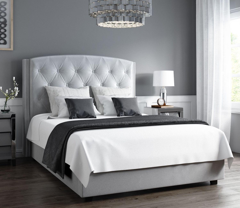 Marvelous Safina Wing Back King Size Ottoman Bed In Silver Grey Velvet Spiritservingveterans Wood Chair Design Ideas Spiritservingveteransorg