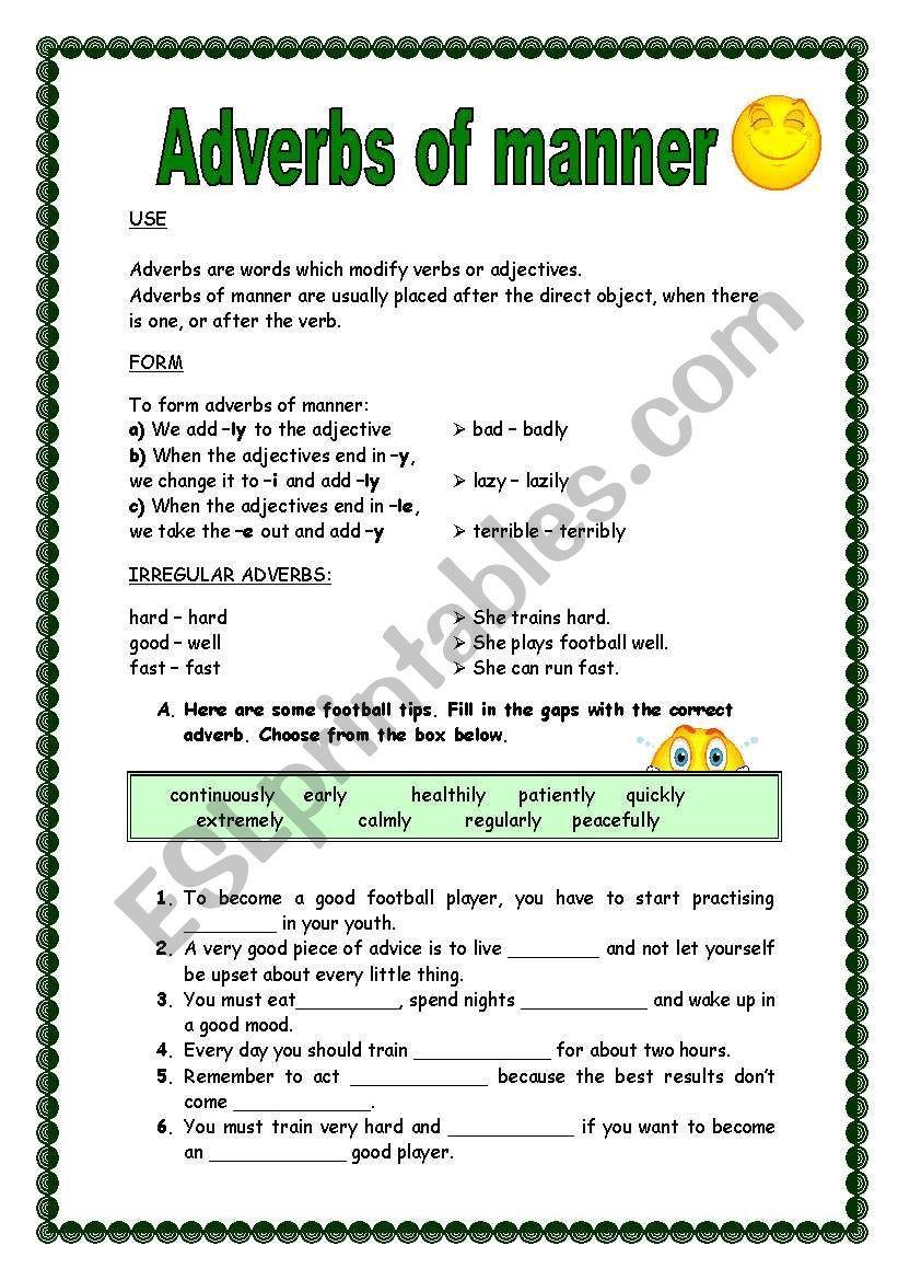 Adverbs of manner (ly) worksheet Adverbs, Grammar