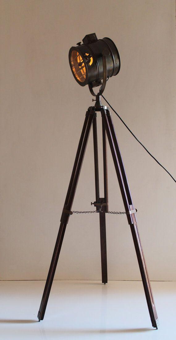 Antique Tripod Nautical Floor Lamp Industrial By Thedezinez Industrial Floor Lamps Tripod Floor Lamps Floor Lamp
