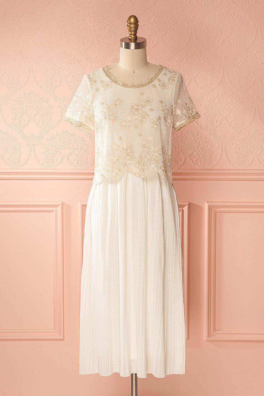 Gold white wedding dress  Amarita  Dresses  Pinterest  White lace Bohemian and Gold
