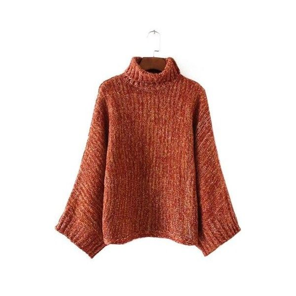 Long Sleeve Brick Red Turtleneck Knitted Sweater (235 HKD) ❤ liked on Polyvore featuring tops, sweaters, red, turtle neck sweater, brown pullover sweater, brown turtleneck sweater, brown sweater and long sleeve turtleneck