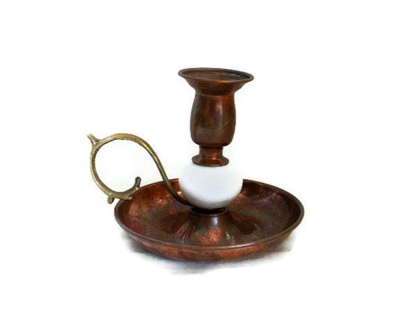 vintage candle holder copper marble brass unique old