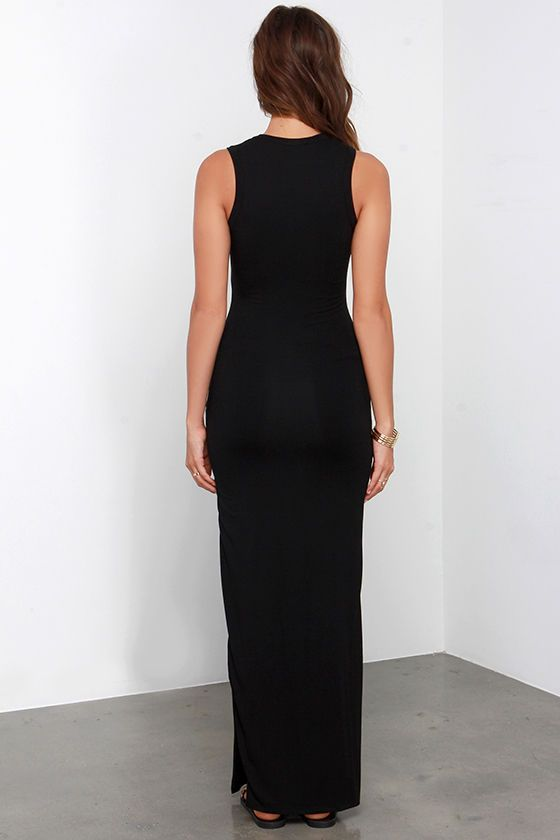 42d3dd9765 Don t underestimate the power of a chic dress like the Shield and Sword  Black Sleeveless Maxi Dress! Jersey knit tops a fitted