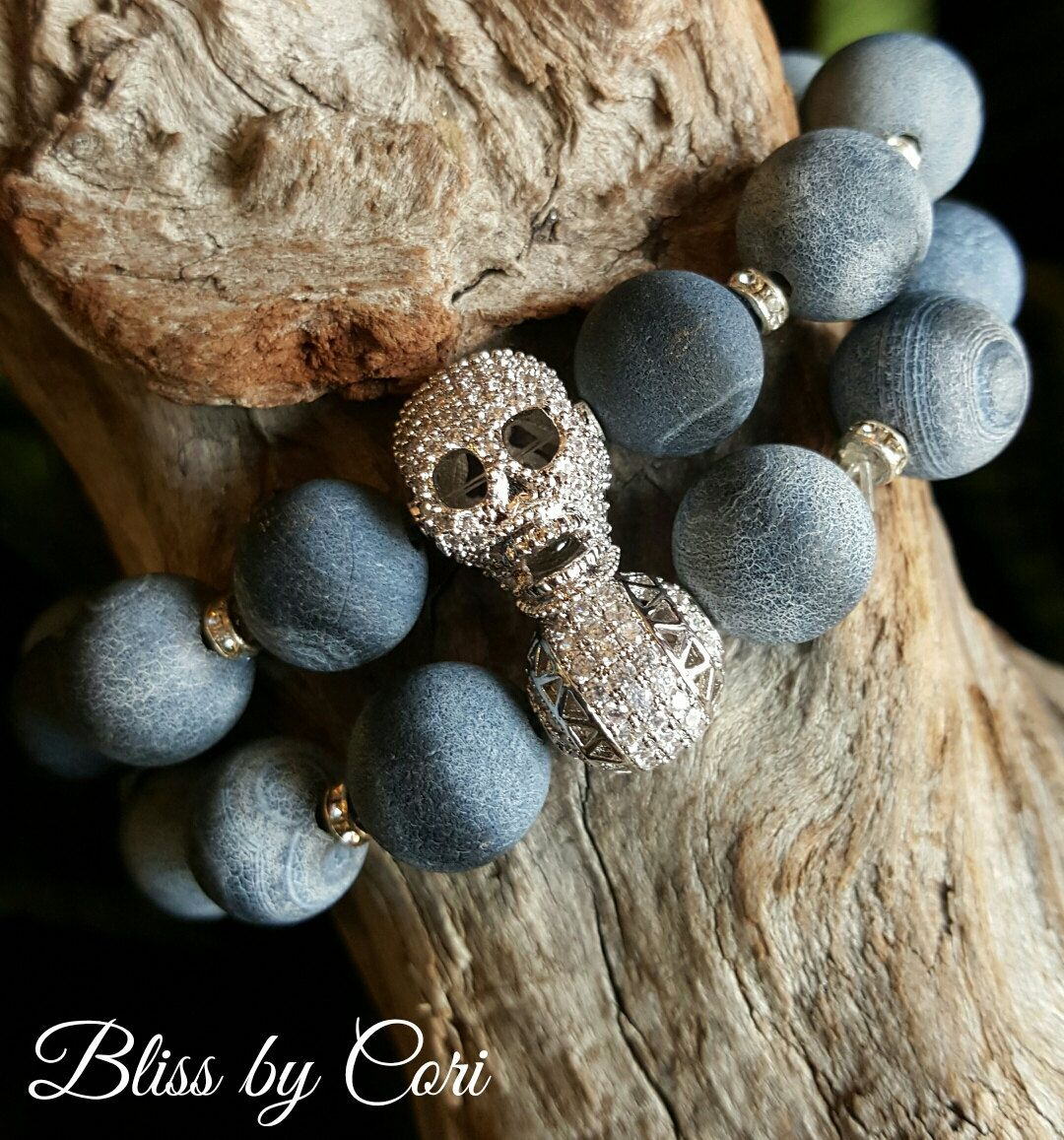 Frosted Fire Agate with Pave Skull Stretch Bracelet Duo *FREE SHIPPING*  by BlissbyCori on Etsy $50.00