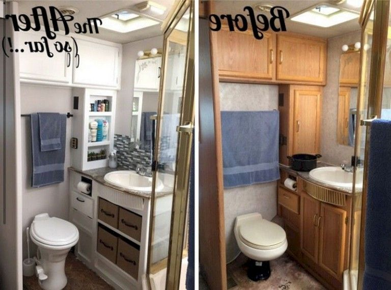 Best 9 Rv Bathroom Remodel With Before And After Picture