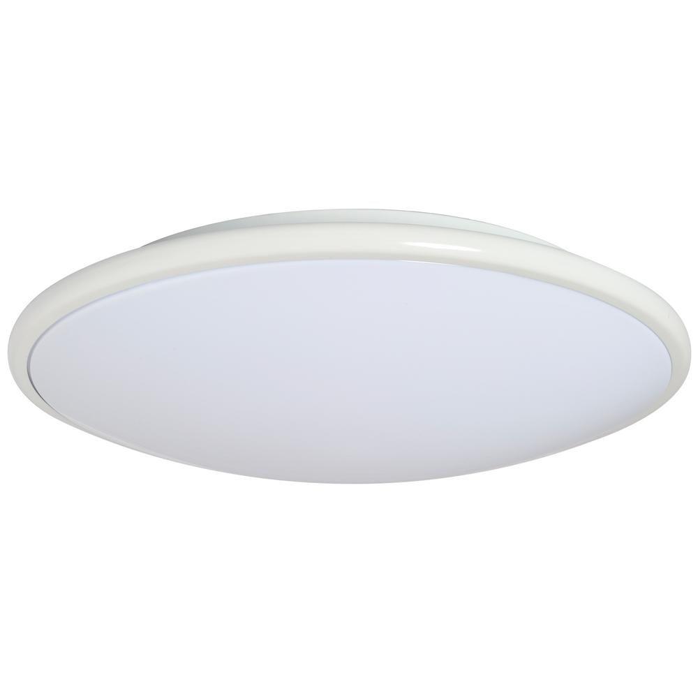 AMAX LIGHTING LED Euro Style 13 in. 1-Light White Flush ...