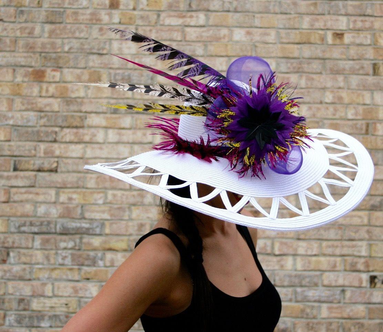 """Andrea"" by #TheHatGirls, derby hat, fascinator, derby fascinator, kentucky derby hat, race day hat, hat, big hat, pretty hat"