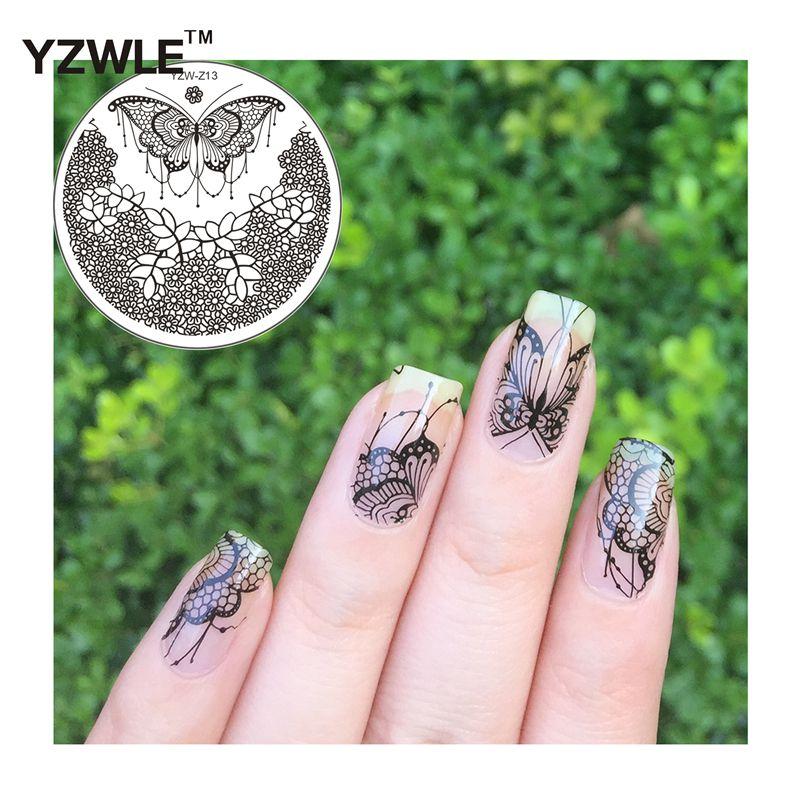 YZWLE Mariposa Diseño Nail Art Stamping Imagen Ronda Patrón de ...