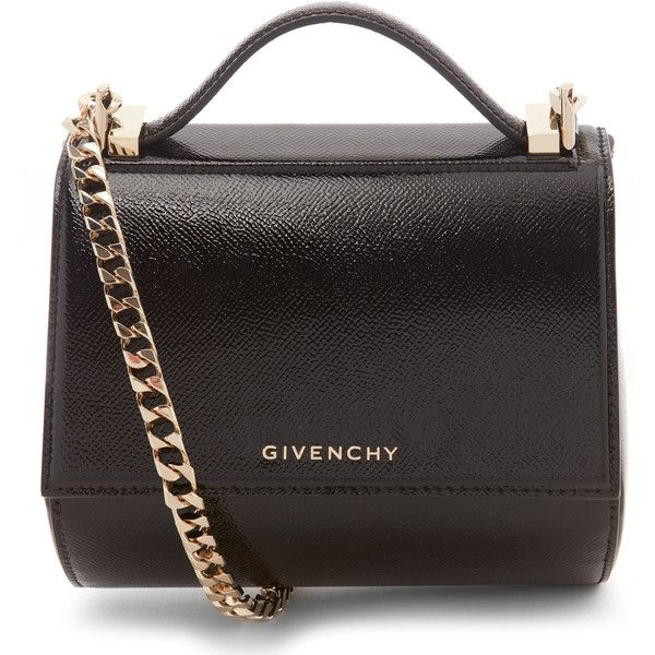 Givenchy Black Patent Leather Mini Chain Strap Pandora Box Bag 1 800 Liked On