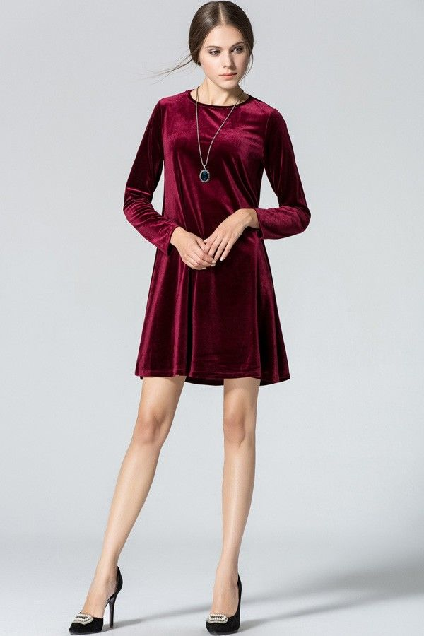 8b7e3fcb2bc6 Dark Red Velvet Long Sleeve Casual Dress   Long Sleeve Dresses