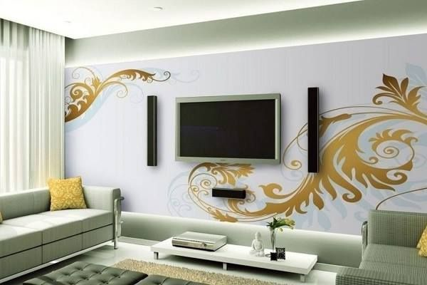 How To Decorate Tv On The Wall Ideas  Elegant View Lcd Tv And Extraordinary Wall Living Room Decorating Ideas 2018