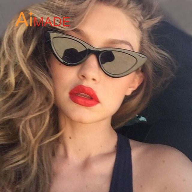 a599228ca480 Buy Aimade 2018 Fashion Clear Lens Small Cat Eye Sunglasses Women Vintage  Black White Triangle Cateye