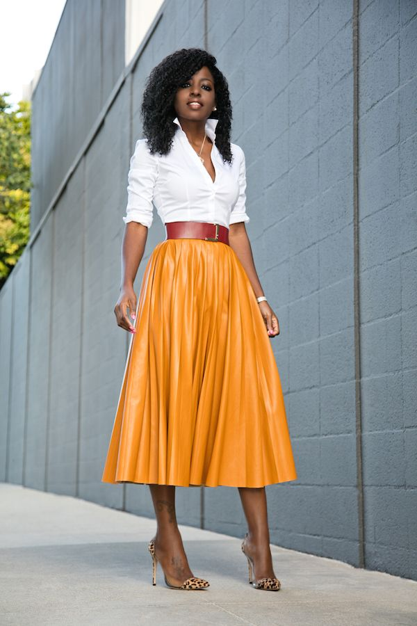 Button Down Shirt   Faux Leather Pleated Midi Skirt (Style Pantry)