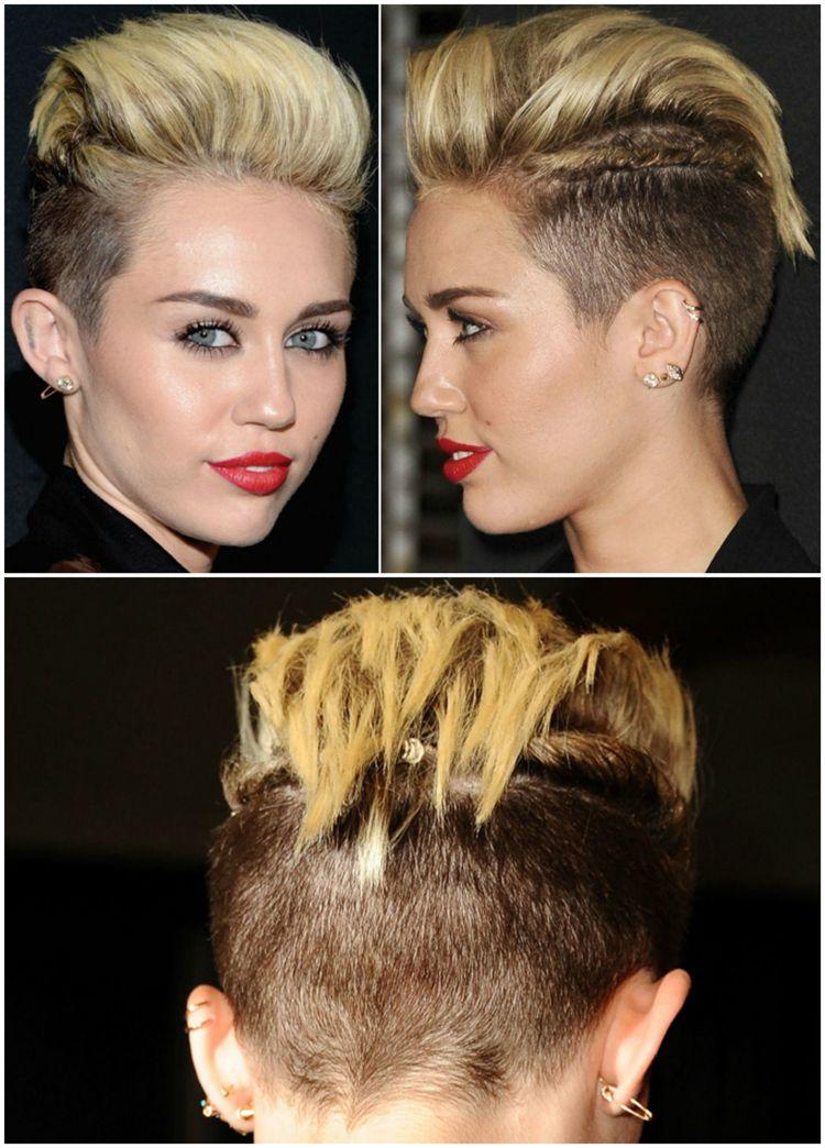 Der Irokesenschnitt Bei Frauen Immer Beliebter So Sieht Die Frisur Aus Miley Cyrus Haare Irokesenschnitt Styling Kurzes Haar