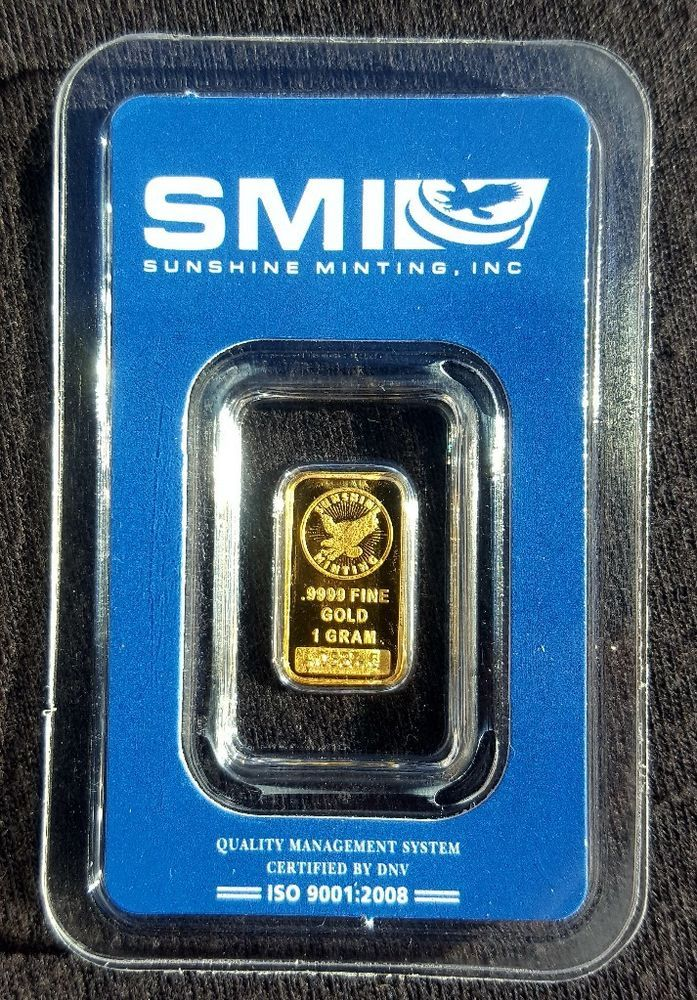 Gold Bar 1 Gram Sunshine Mint Smi Plastic Assay Card Usa Gold A058746 Gold Bar Usa Gold Gold