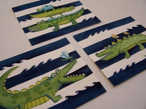 or Bedroom Alligator Gator Wall Art Prints for Child or Baby Bathroom Nursery