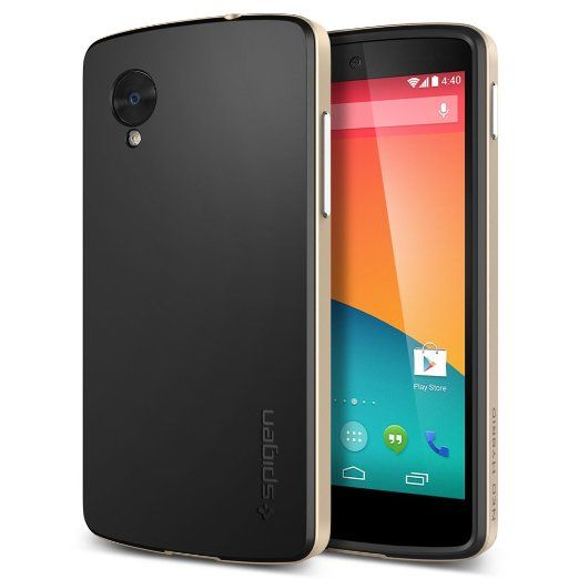 Nexus 5 Case, Spigen Neo Hybrid Series for Nexus 5 - Retail Packaging - Champagne Gold (SGP10564)
