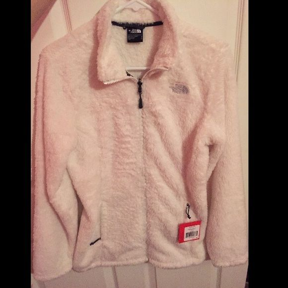 Fuzzy white fullzip north face jacket Brand new! Rare! No trades and the price is firm! North Face Jackets & Coats