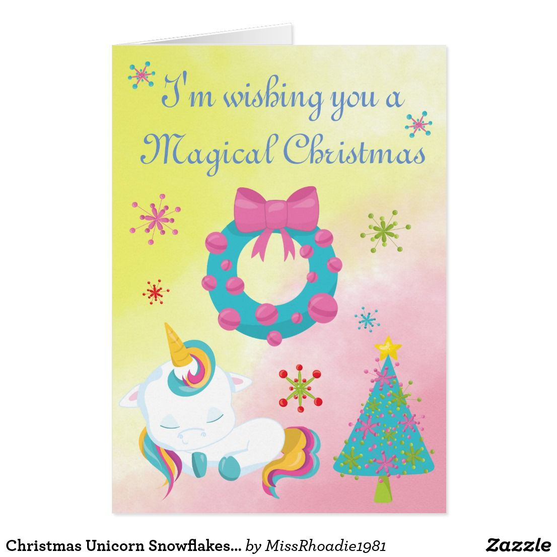 Christmas Unicorn Snowflakes And Wreath Greeting Card A Magical