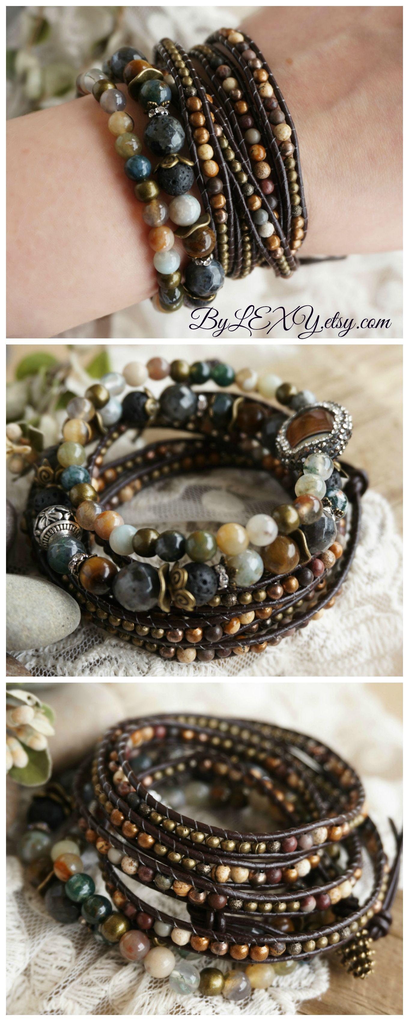 a6152ce36c4ef MallDou Jewelry Handmade Coloful Leather Cuff Bracelet Wrap Bangle ...