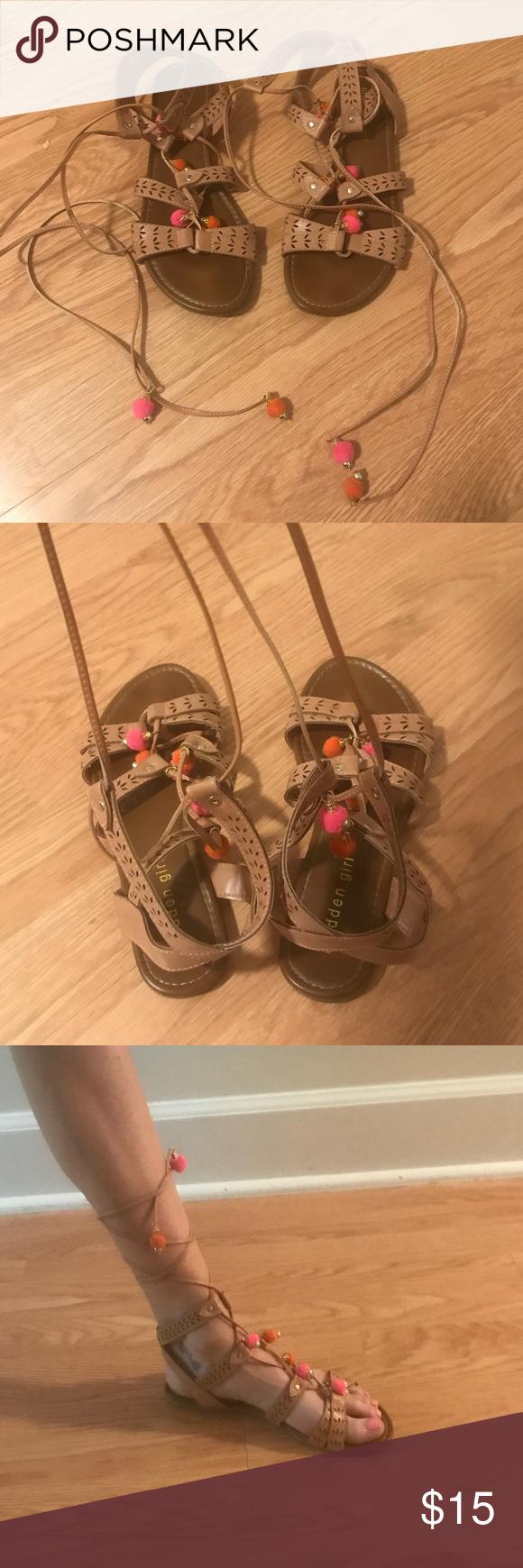 ee180293aa34 Steve Madden pom pom sandals. Steve Madden pom pom sandals Lace up sandals  madden girl ...