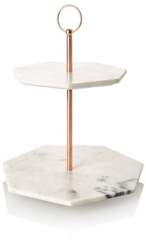 Oliver Bonas Double Tiered Marble Cake Stand Copper Home Accessories Marble Cake Stand Home Decor Accessories