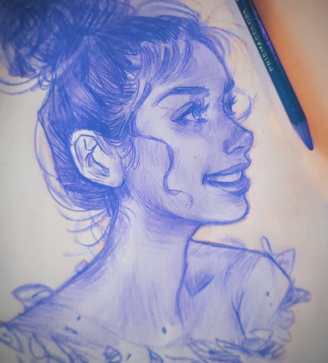 Lovely Blue Pencil Sketch By Melmadedooks Follow Artistsuniversity For More And Use A