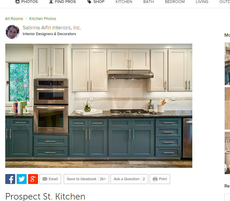 White upper cabinet with teal lower cabinet http://www.today.com ...