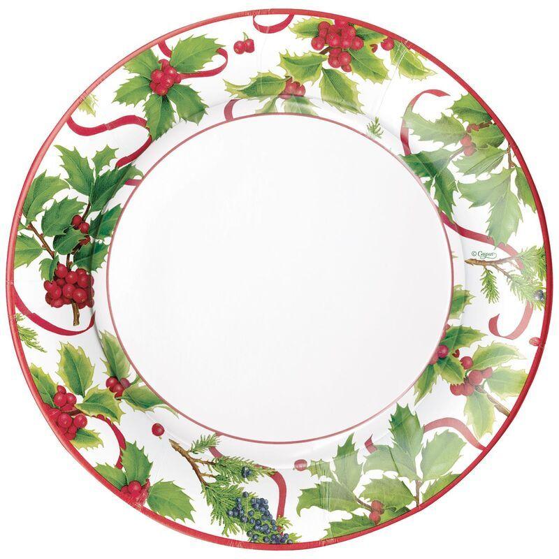 Caspari Christmas Trimmings Paper Salad Plates Set Of 8 Christmas Trimmings Thanksgiving Treats