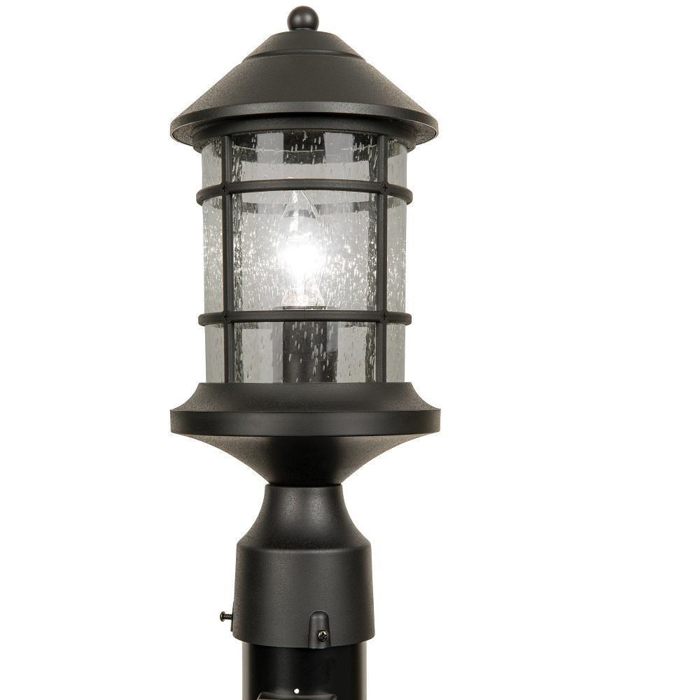 Newport Crest Sunset Outdoor Black Post Light 7787 03b The Home Depot Post Lights Outdoor Wall Lantern Post Lighting