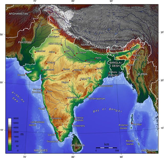 A topographic map of India India Wikipedia httpenwikipedia