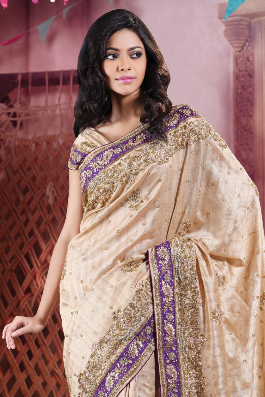 Saree for women wedding  brown silk saree  with unstitched blouse  silk saree