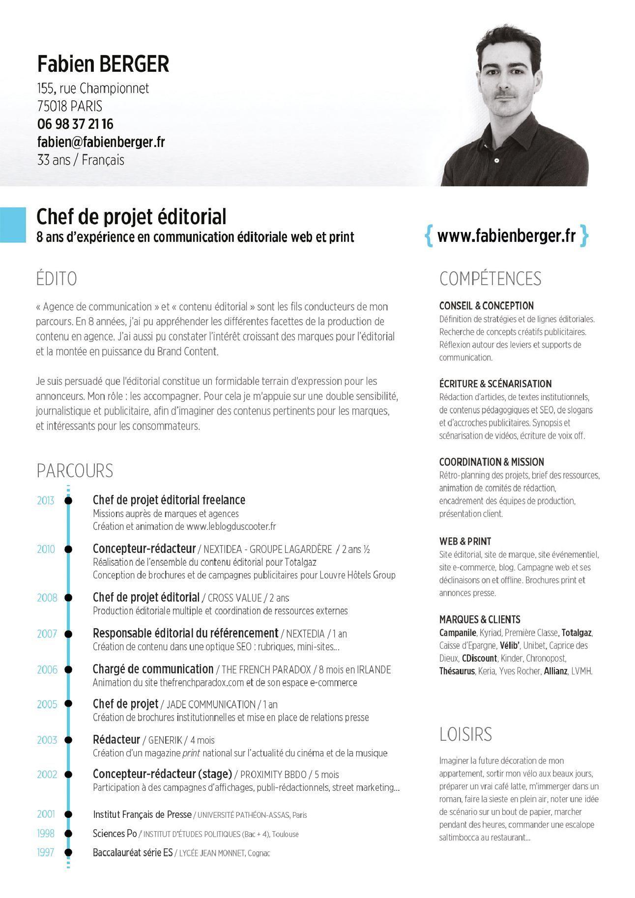 Cv Type Chef De Projet Modeles De Lettres Modele Cv Chef De Projet Evenementiel