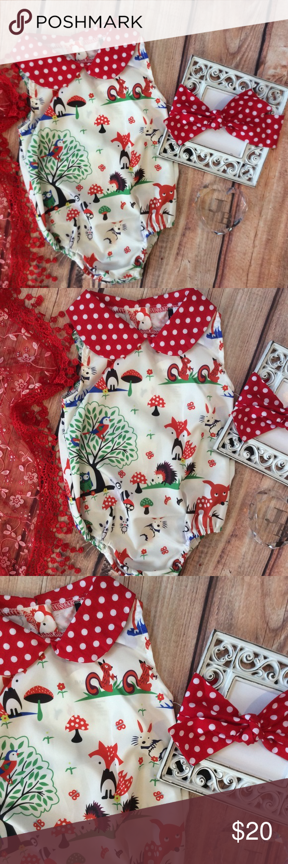 276f1b3150ba Boutique Baby Girl Romper   Headwrap Precious 2pc Romper   Head wrap Set.  Outdoorsy theme printed romper with red   white polkadot collar and headband  to ...