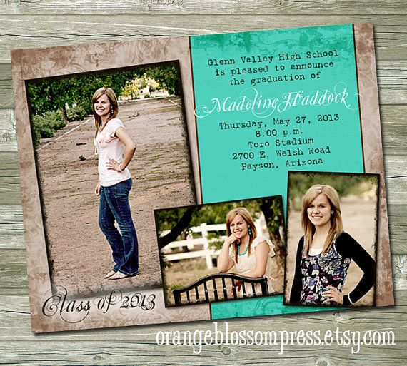 custom photo graduation announcement invitation flourish