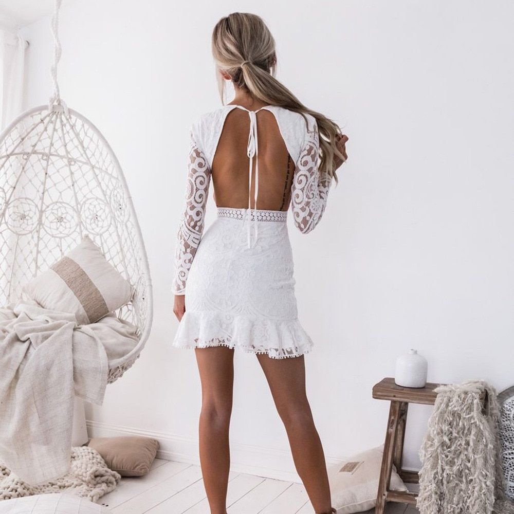 Women Hallow Out White Lace Long Sleeve Dresses Jkp1415 In 2020 White Homecoming Dresses Lace Homecoming Dresses Backless Mini Dress [ 1000 x 1000 Pixel ]
